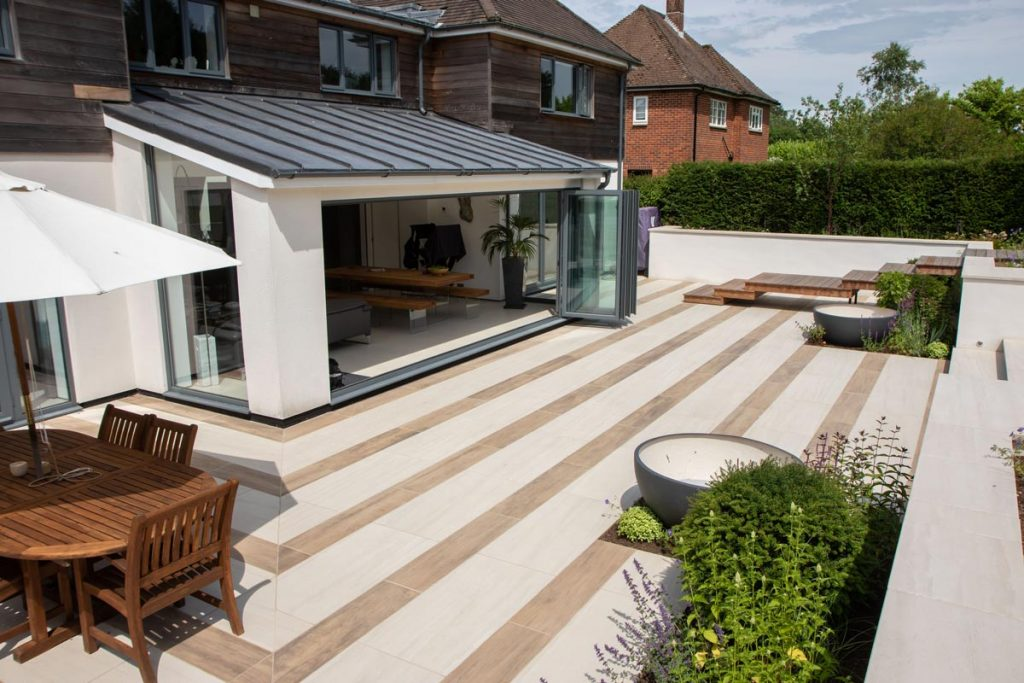 Porcelain tiles used inside and outside to create a matching design.