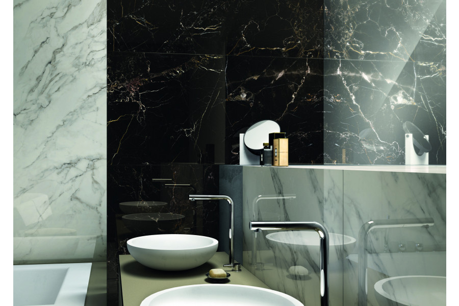 Marble bathroom tiles inject instant luxury into this scheme.