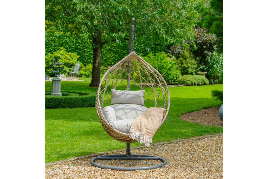An egg chair is a stylish choice for both inside and outside the home.