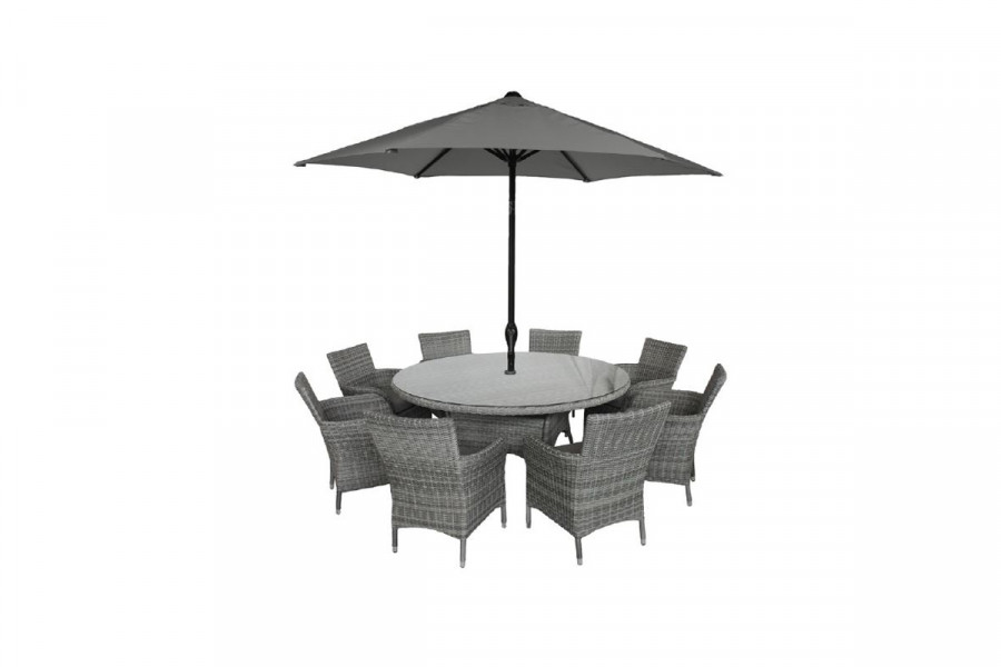 Fit everyone around this 8 person circular garden table and parasol set.