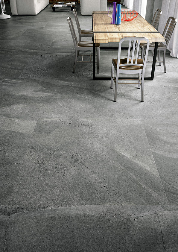 Porcelain floor tiles are a durable choice for the kitchen but require regular cleaning to keep them looking their best.