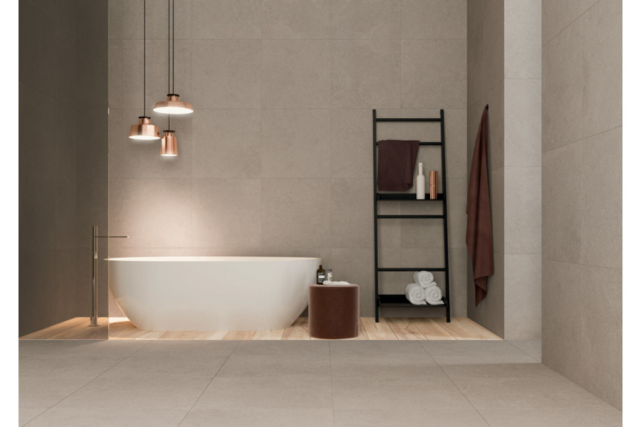 This bathroom has a beautiful rustic feel, using beige bathrooms tiles on the walls.