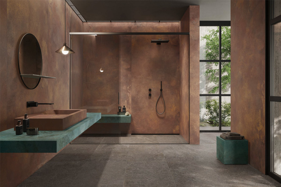 Porcelain tiles are the perfect choice for making a bold statement in the bathroom.