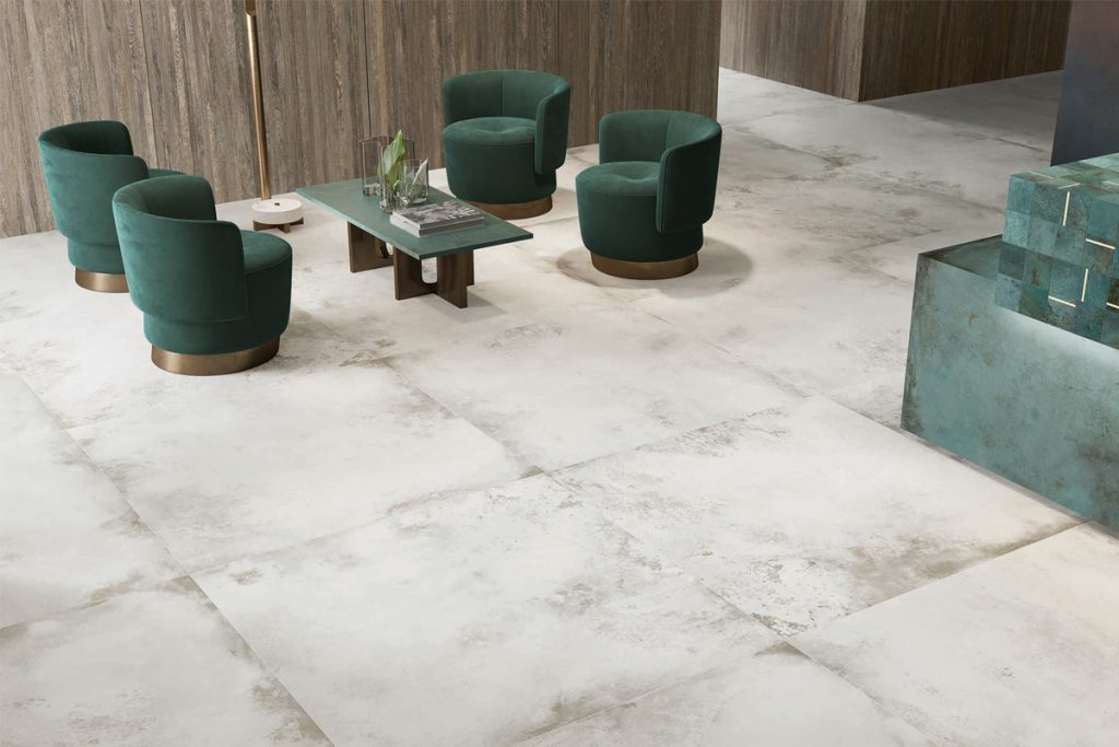 Our new range of interior porcelain tiles are inspired by oxidising metals and are perfect for an industrial chic design.