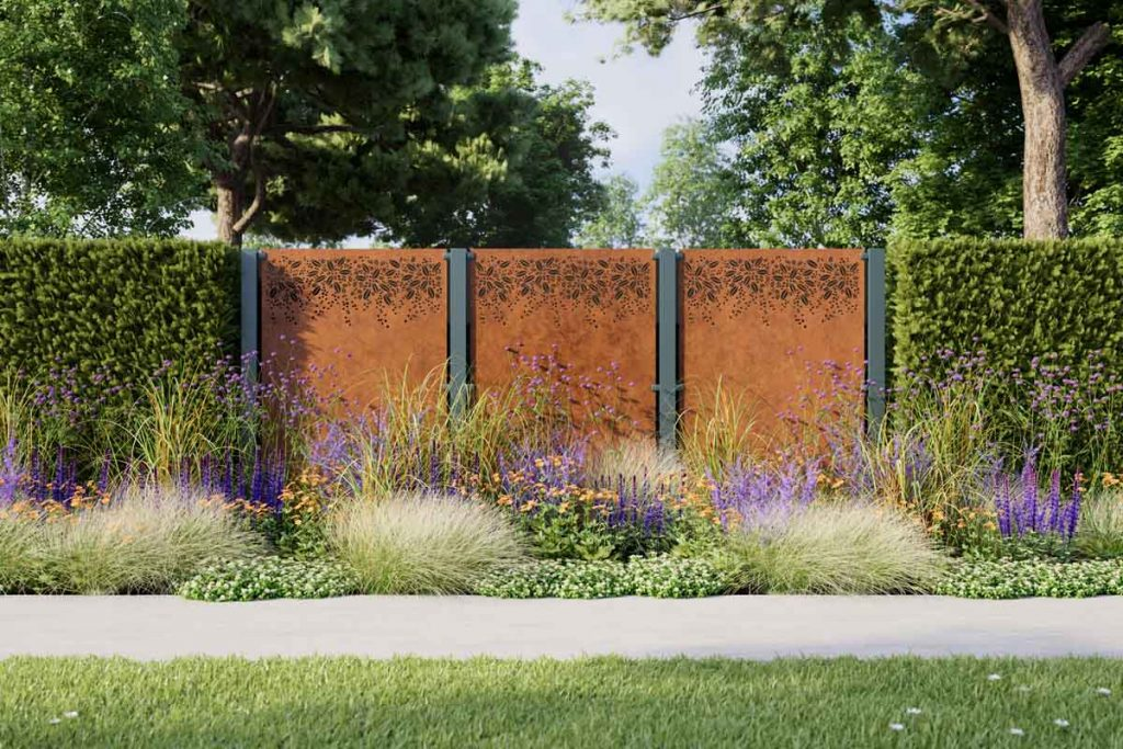 Metal garden screens are perfect for creating an interesting focal point.