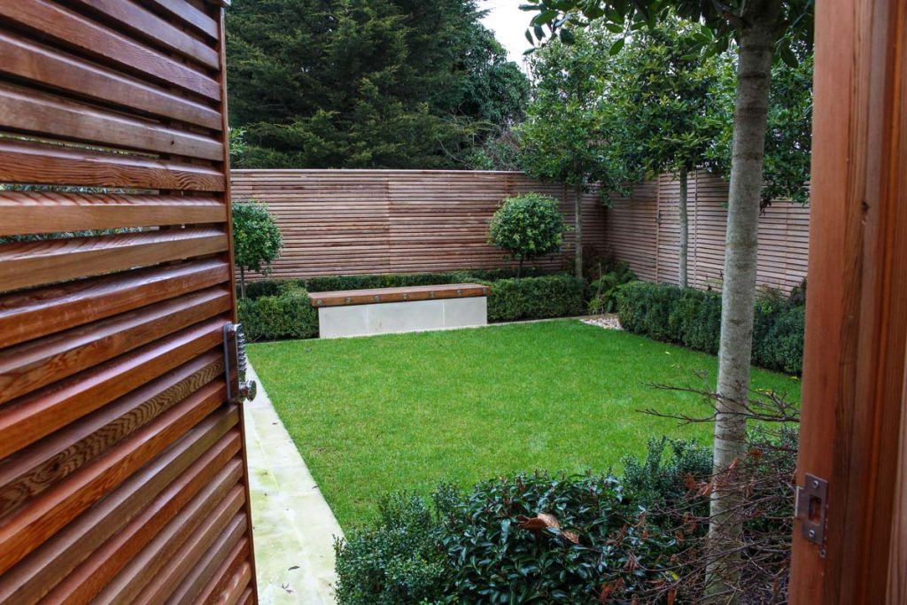 Redwood fencing and gate surround this contemporary style garden.