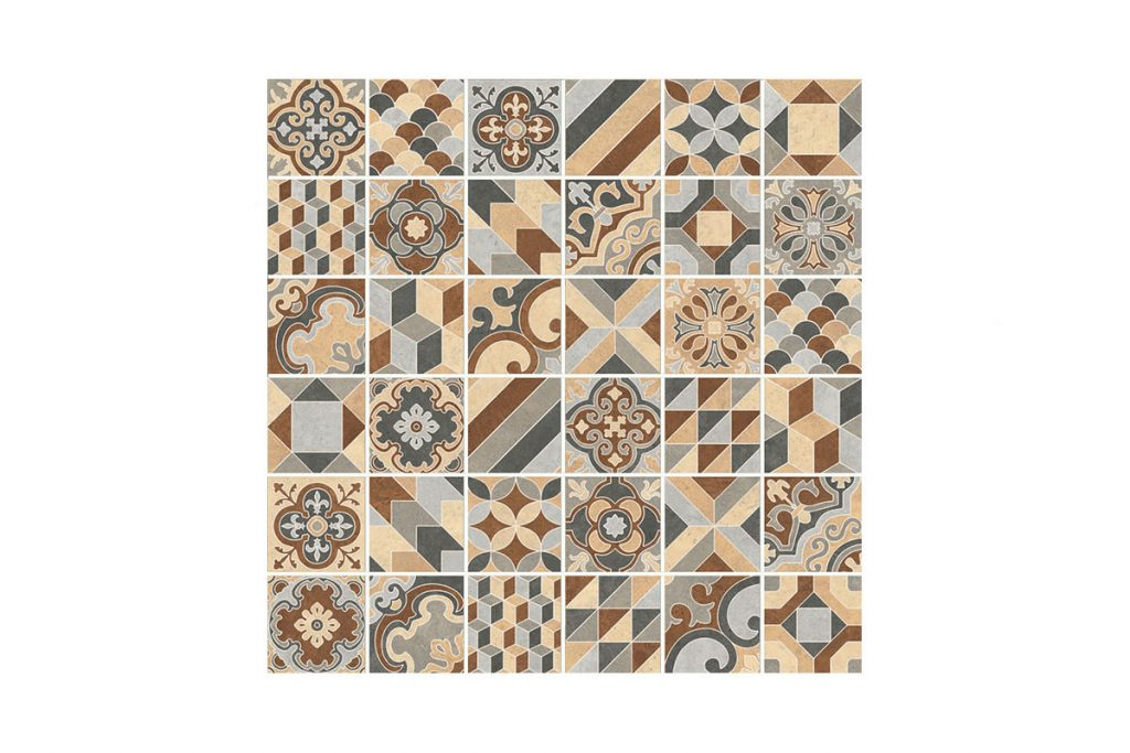 Patterned tiles produce a stunning, unique design.