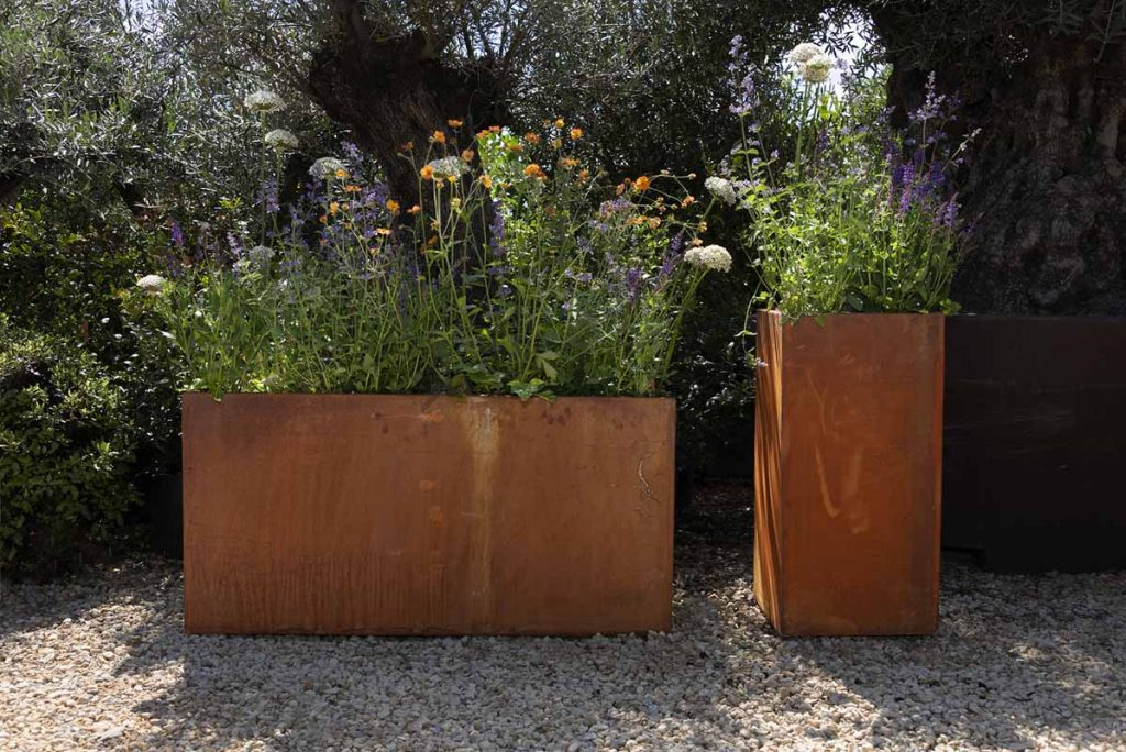 Corten Steel metal planters are the perfect way to add interest to the garden.