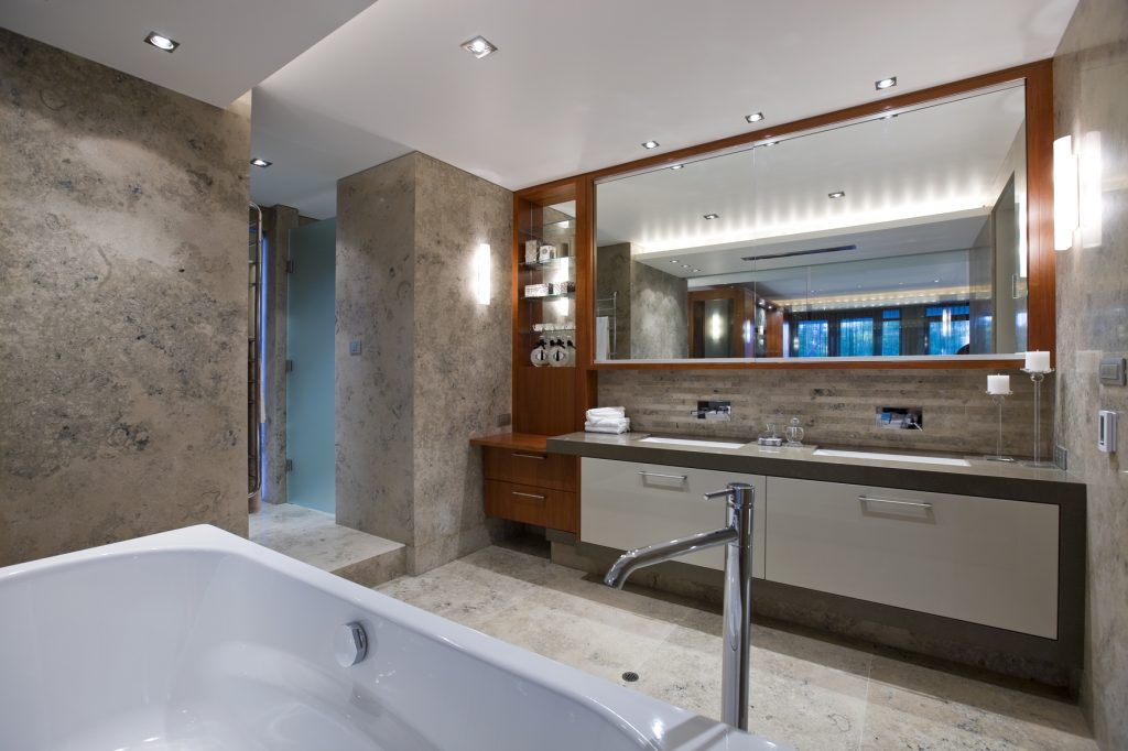 Jura grey limestone tiles are perfect for creating a relaxing bathroom atmosphere.