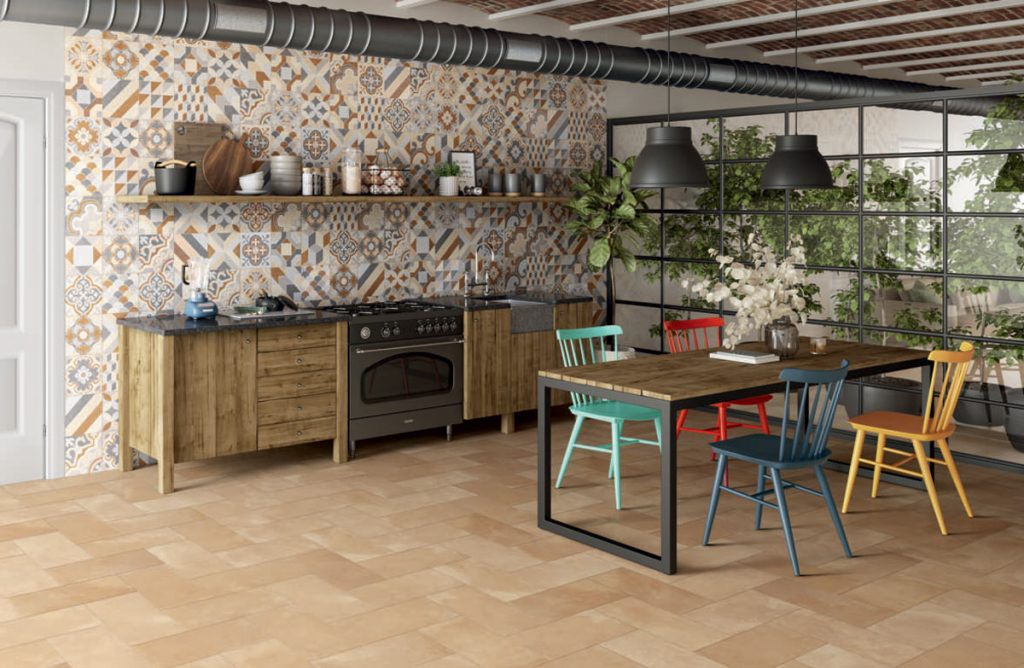 Use patterned tiles in the kitchen to add interest and charm.