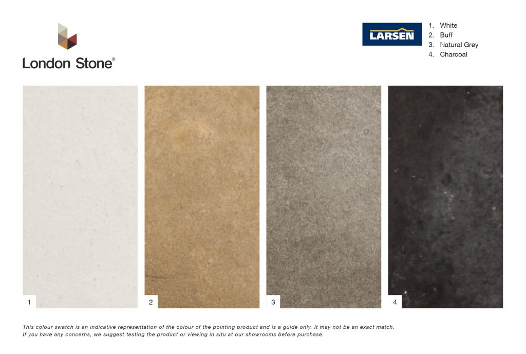 Larsen Gun POint mortar Colour Chart, available from london stone
