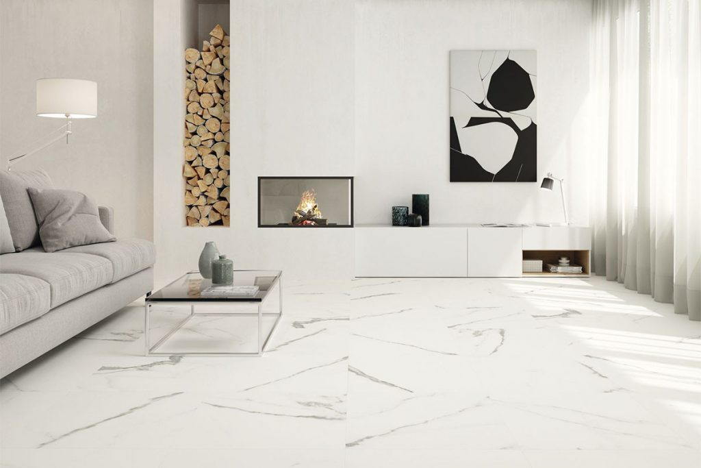 Marble effect tiles will add instant luxury to your living space.