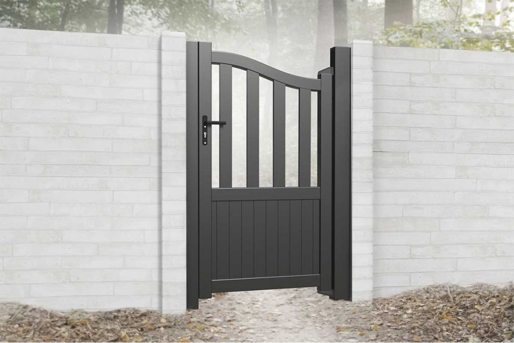 Add a distinct element to an outdoor space with a stylish metal pedestrian gate.