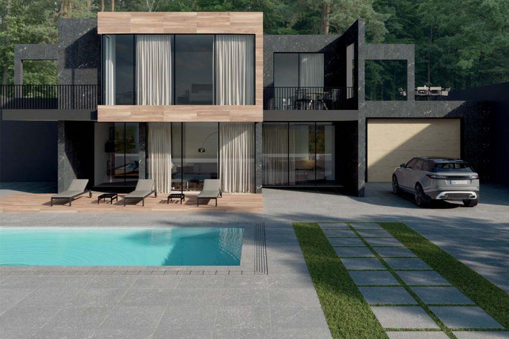 A modern scheme pairing Sestriere  800x800 Porcelain Paving with wood effect plank porcelain and black concrete building.