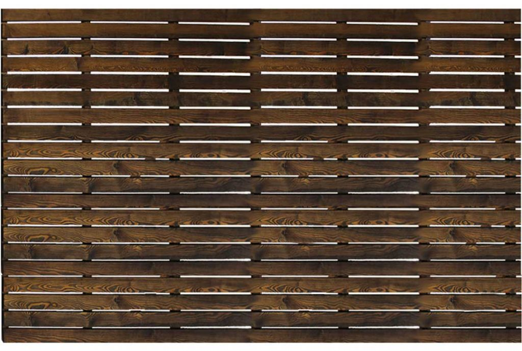 Charred larch fencing panel with gapped battens from london stone