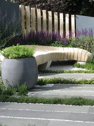 Bench, Living Landscapes Healing Urban Garden, Rae Wilkinson, RHS Hampton Court 2015