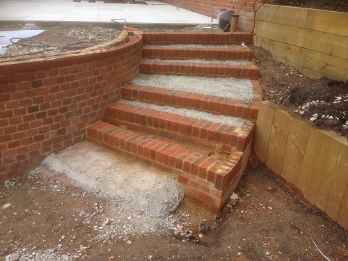 Brick base of steps