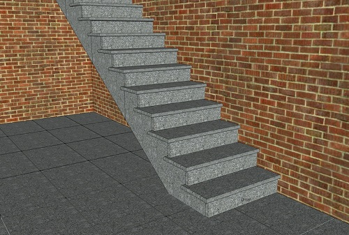 CAD of granite steps