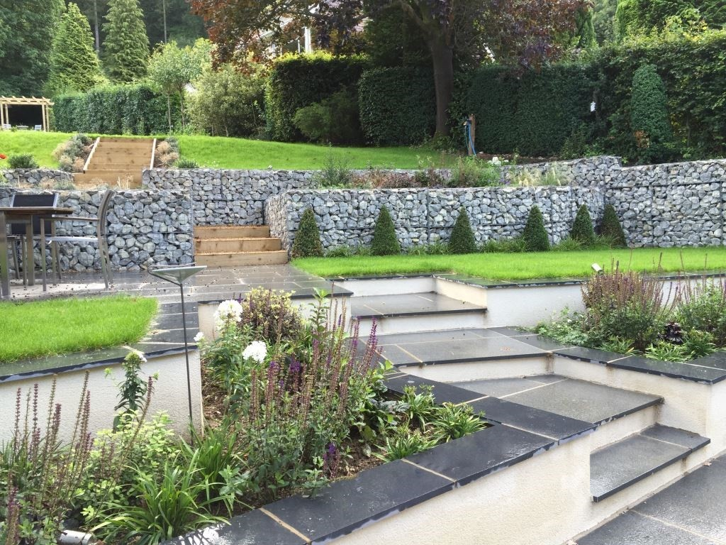 Land Art Design and Build using London Stone Black Limestone and Blue Grey Granite