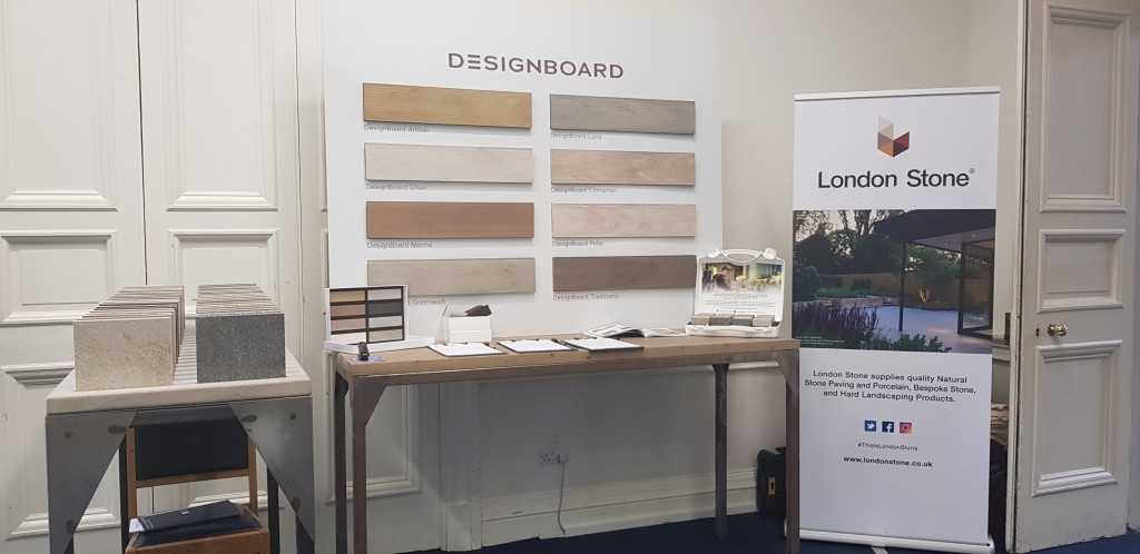 London Stone stand displaying Composite Decking, Natural Stone & Porcelain at the SGD Spring Conference
