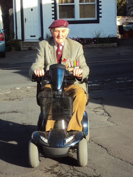 Mr Whitwell on mobility scooter from Perennial