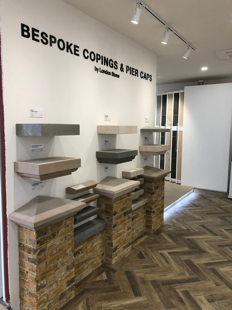 Bespoke copings and pier caps display wall, showing edge profile options