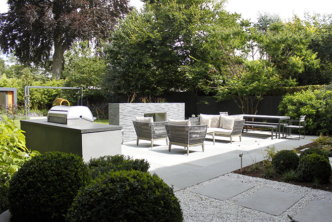 Private Residence, Grey Yorkstone, Copyright of designer Cassandra Crouch.