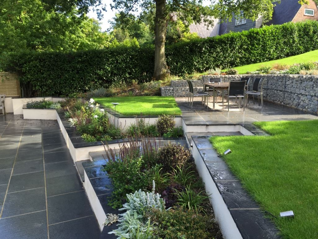 Side View, Land Art Design and Build, Black Limestone, Blue Grey Granite, London Stone